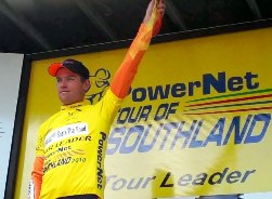 ..|_ Jeremy Yates in Yellow after Stage Three of the 2010 PowerNet Tour
