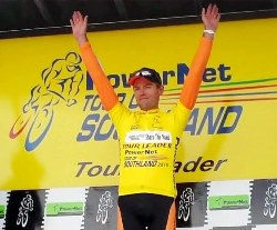 ..|_ Jeremy Yates in Yellow after Stage Five of the 2010 PowerNet Tour of Southland